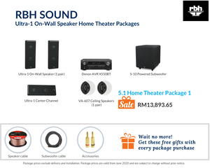 RBH Sound Ultra-1 On-Wall Speaker 5.1 Home Theater (Ceiling Speakers) Package