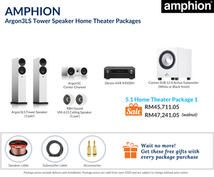 Amphion Argon3LS Tower Speaker 5.1 Home Theater Package (Ceiling Speakers)