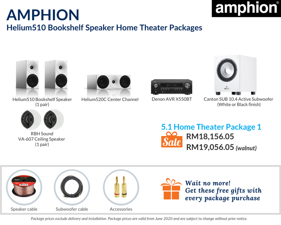 Amphion Helium510 5.1 Home Theater Package (Ceiling Speakers)