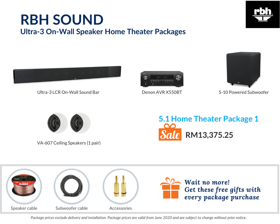RBH Sound Ultra-3 On-Wall Speaker 5.1 Home Theater (Ceiling Speakers) Package