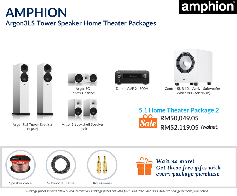 Amphion Argon3LS Tower Speaker 5.1 Home Theater Package