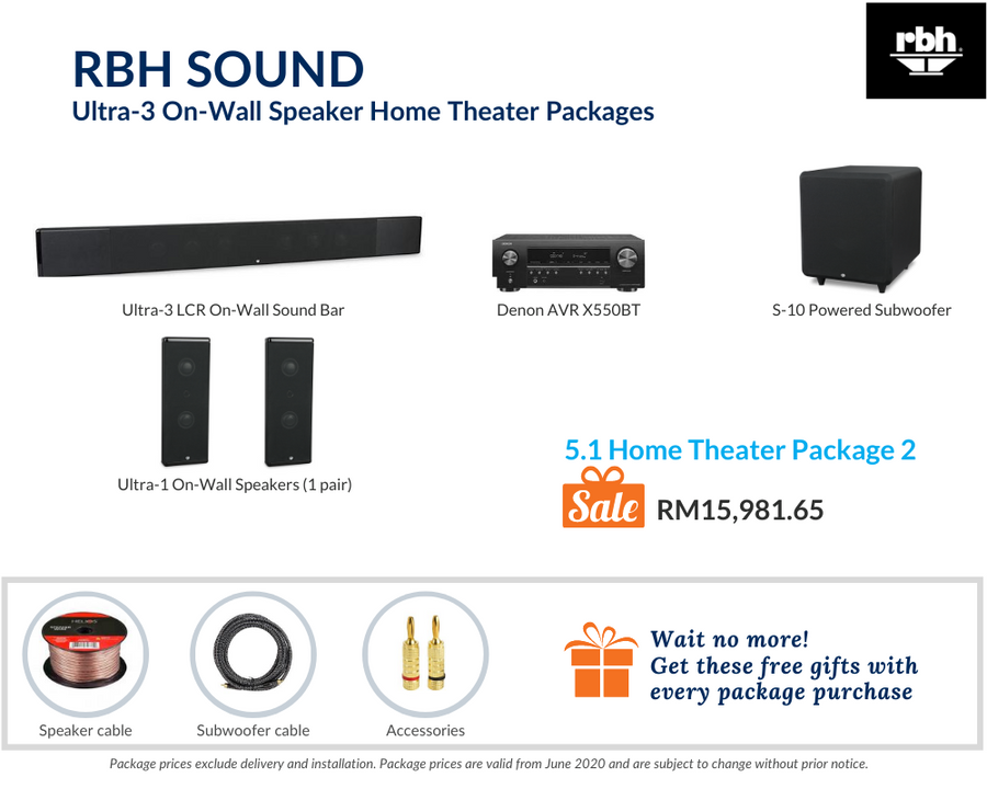 RBH Sound Ultra-3 On-Wall Speaker 5.1 Home Theater Package