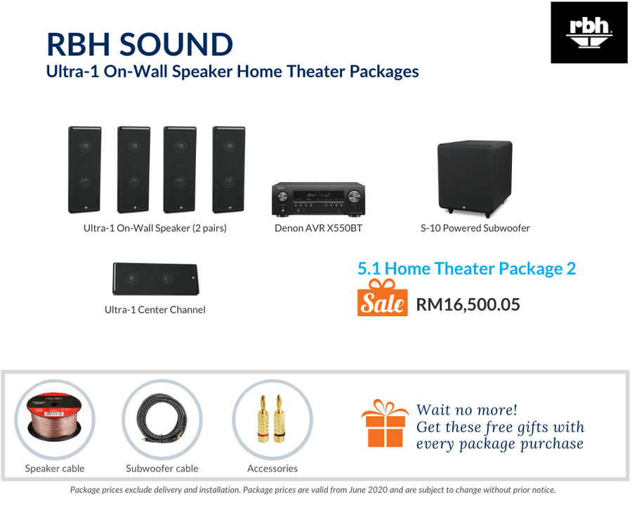 RBH Sound Ultra-! On-Wall Speaker 5.1 Home Theater Package