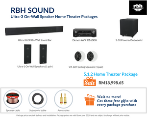 RBH Sound Ultra-3 On-Wall Speaker 5.1.2 Home Theater Package
