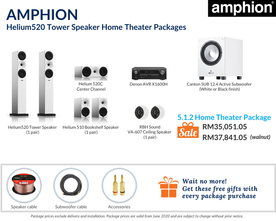 Amphion Helium520 Tower Speaker 5.1.2 Home Theater Package