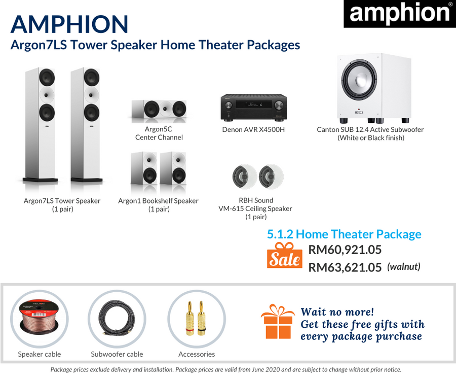 Amphion Argon7LS Tower Speaker 5.1.2 Home Theater Package