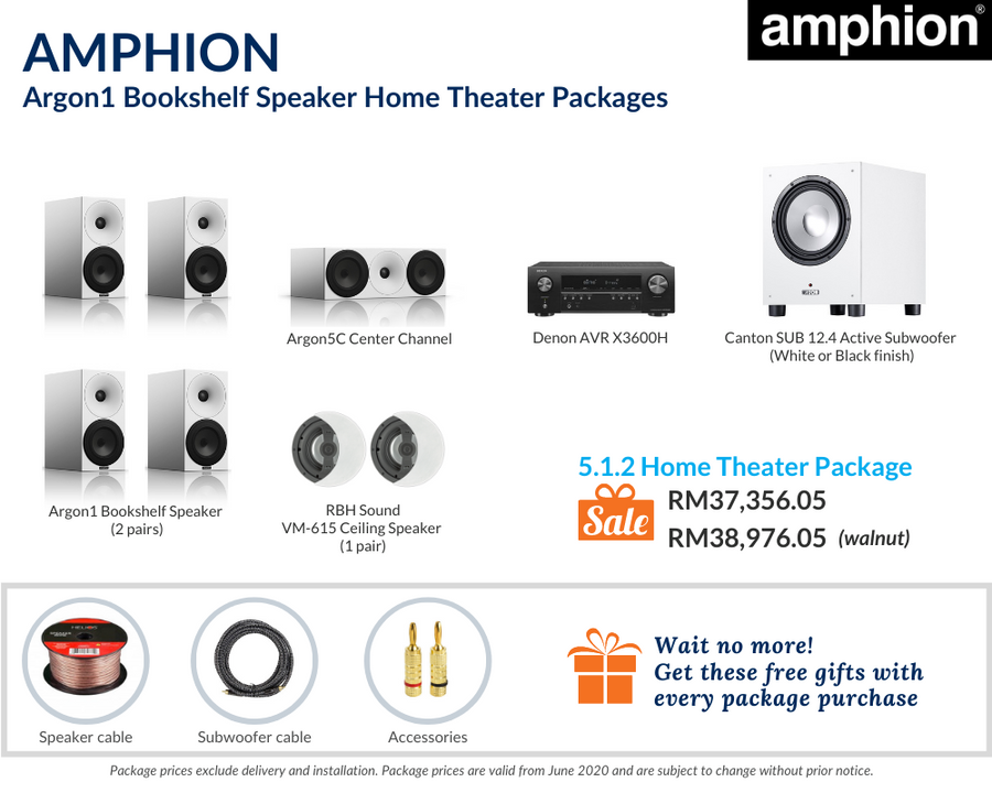 Amphion Argon1 Bookshelf Speaker 5.1.2 Home Theater Package