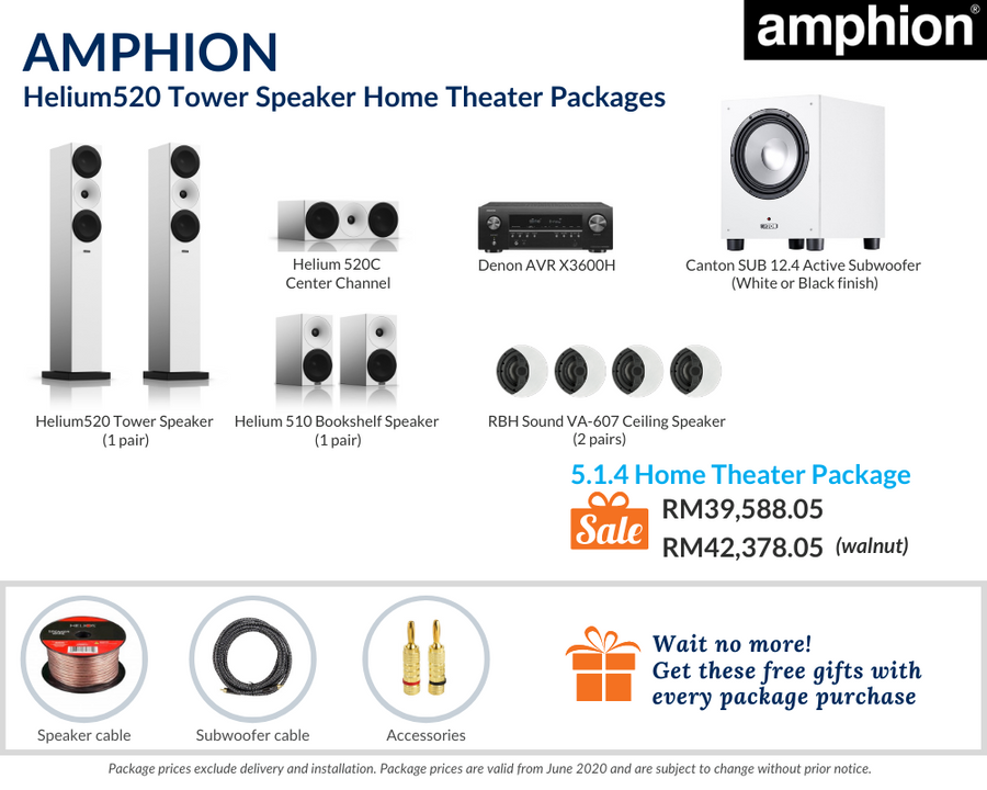 Amphion Helium520 Tower Speaker 5.1.4 Home Theater Package