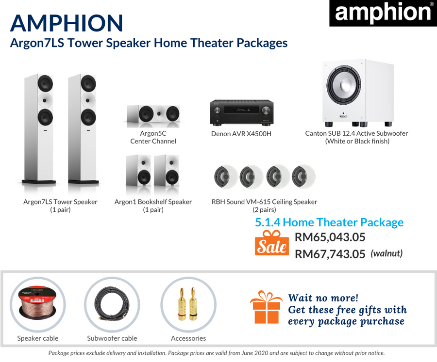 Amphion Argon7LS Tower Speaker 5.1.4 Home Theater Package
