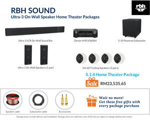 RBH Sound Ultra-3 On-Wall Speaker 5.1.4 Home Theater Package