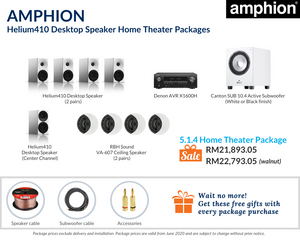 Amphion Helium410 Desktop Speaker 5.1.4 Home Theater Package