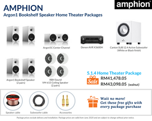 Amphion Argon1 Bookshelf Speaker 5.1.4 Home Theater Package