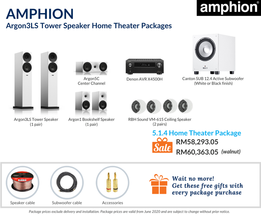 Amphion Argon3LS Tower Speaker 5.1.4 Home Theater Package