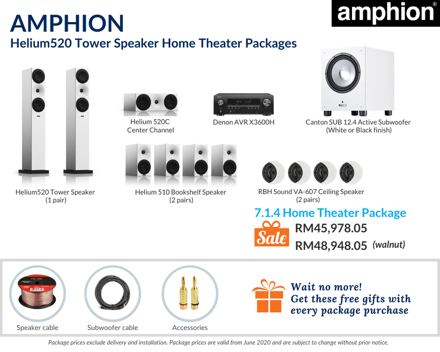 Amphion Helium520 Tower Speaker 7.1.4 Home Theater Package