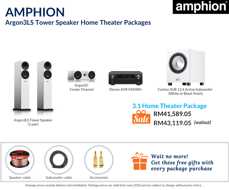 Amphion Argon3LS Tower Speaker 3.1 Home Theater Package