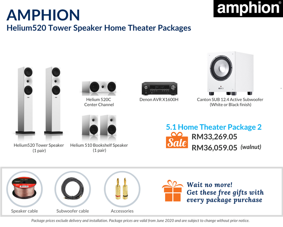 Amphion Helium520 Tower Speaker 5.1 Home Theater Package