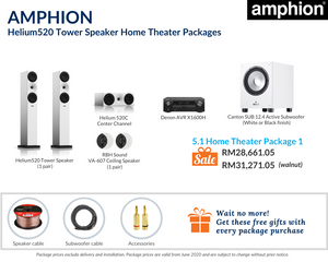 Amphion Helium520 Tower Speakers 5.1 Home Theater Package (Ceiling Speakers)