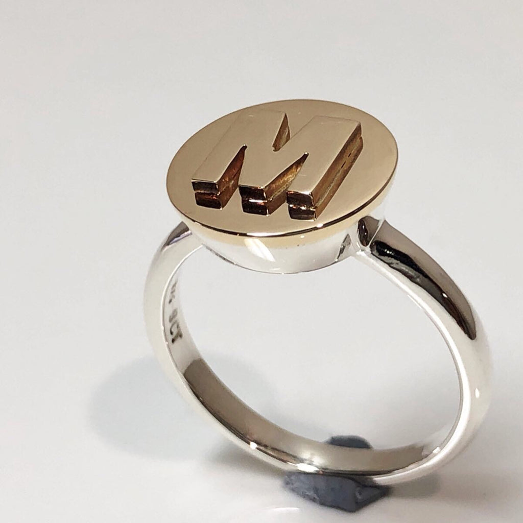Little Sister Ring - gold initial on gold top