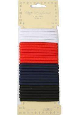 27pcs Ponytail Holders Black, White, Navy & Red - Deluxe Beauty Supply