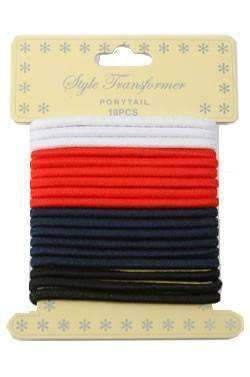 18pcs Ponytail Holders Black, White, Navy & Red (Old Packaging)