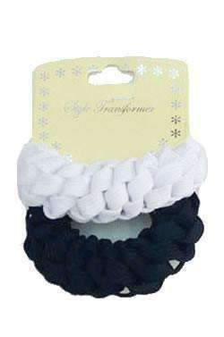2pcs Hair Scrunchies Black & White - Deluxe Beauty Supply