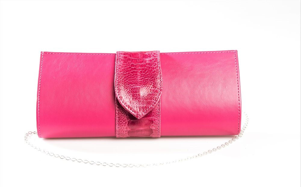 Maya Evening Designer Clutch Bag - Leather and Ostrich Shin Leather