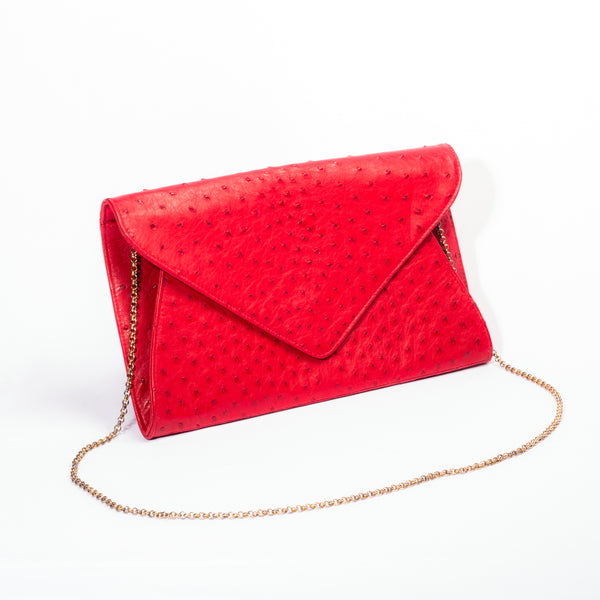 Giselle Designer Clutch Bag - Ostrich Leather