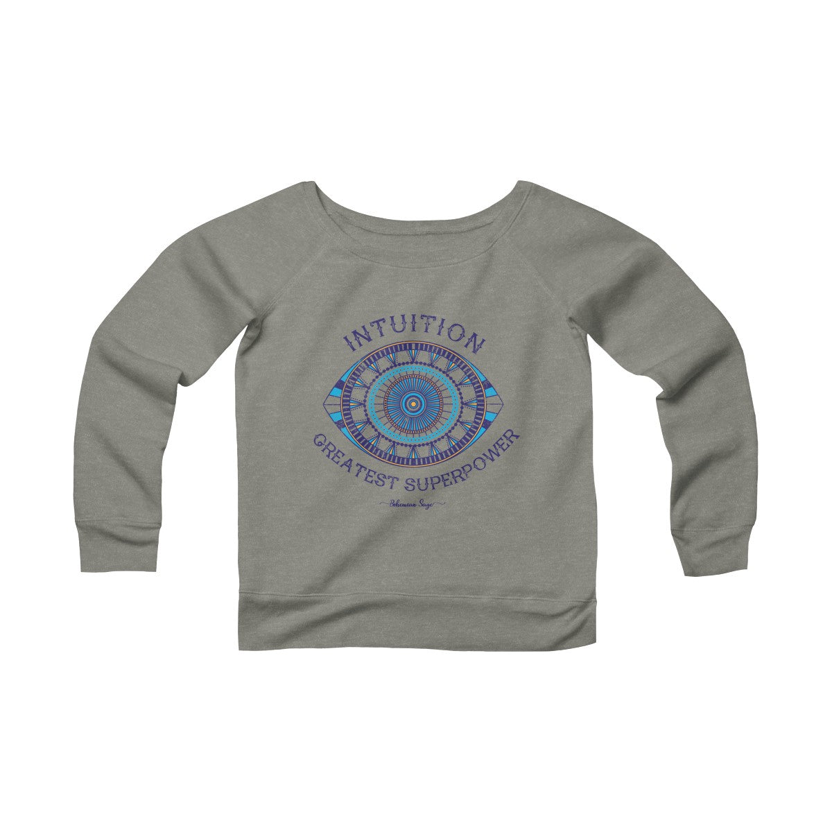 Women's Yoga Off the Shoulder Sweatshirt | Intuition is the Greatest SuperPower