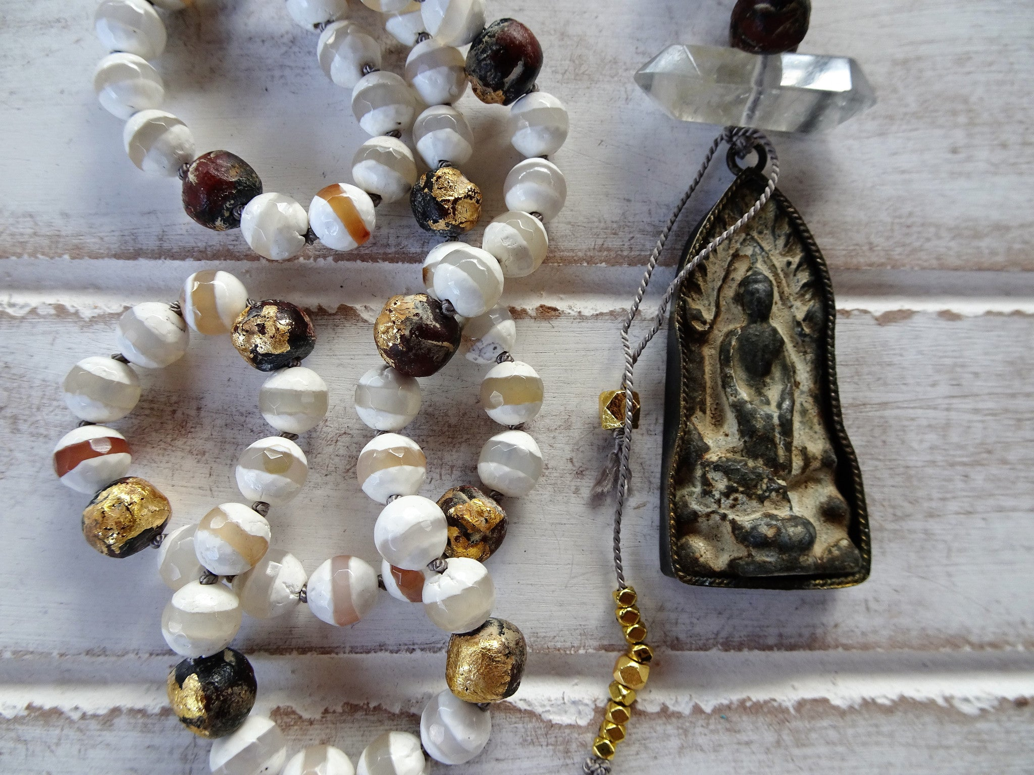 Buddha Hand Knotted Pendant Necklace | Quartz Crystal | White Agate | Gold Buddha Beads