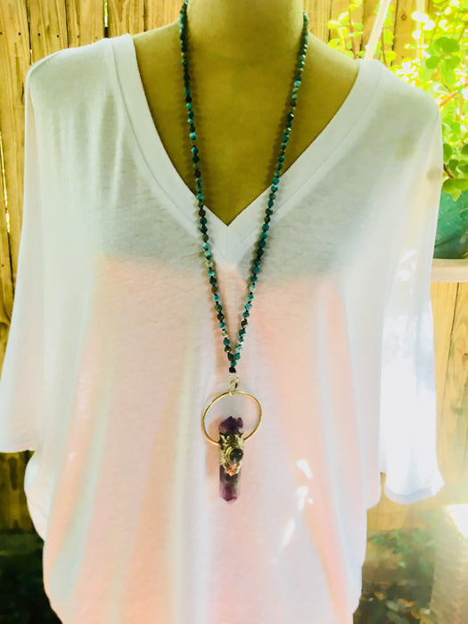 "Large Fluorite, Labradorite, Amethyst Crystal Pendant | 37"" Long Amazonite Precious Stone Necklace"