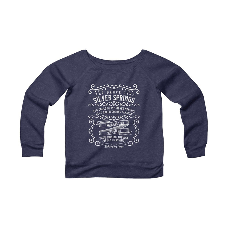 "Women's Sponge Fleece Off the Shoulder Sweatshirt | Tribute to Fleetwood Mac ""Silver Springs"""