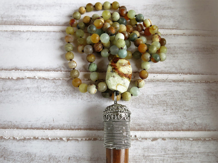 Meditation Mala Necklace | Natural Precious Stones | Tibetan Horn Pendant | Yoga Teacher Gift