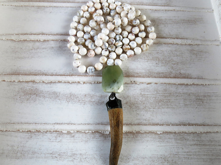 Meditation Necklace | 108 Mala | White Agate  Precious Stones | Jade | Deer Horn Pendant
