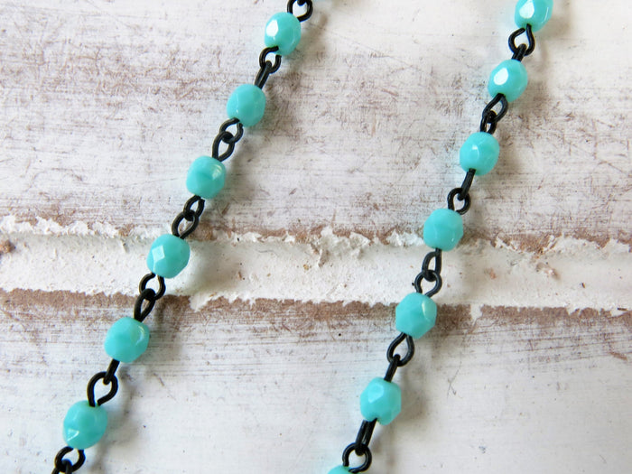 "Feather Choker Necklace | 16"" Turquoise Beaded Chain"