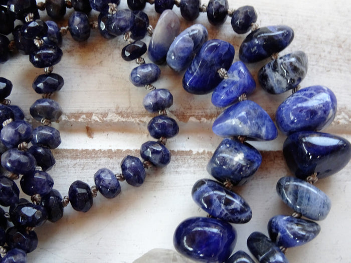 "Lapis Lazuli Natural Stone Necklace | Crystal Chandelier Pendant | 36"" Long"