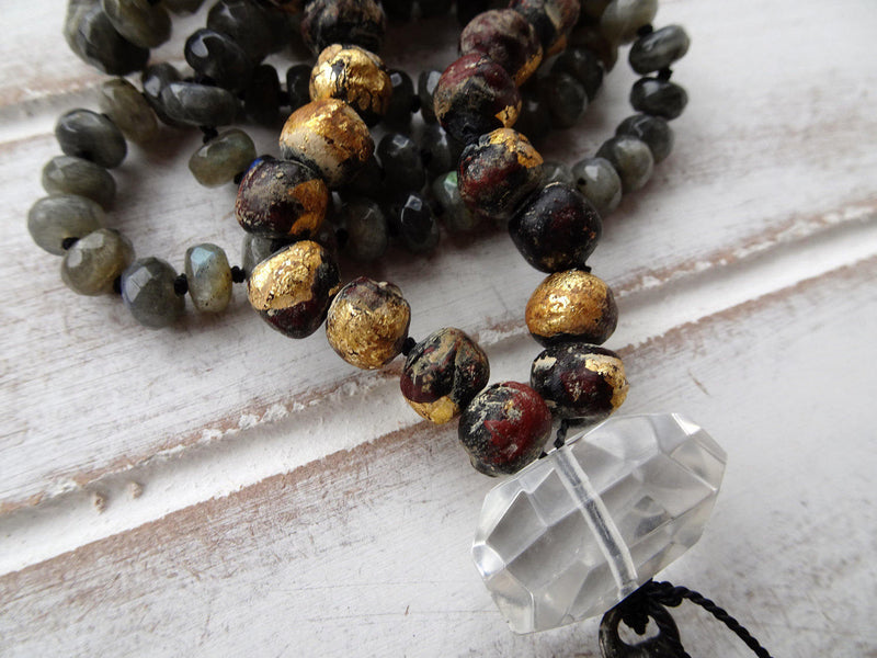 "30"" Labradorite Chandelier Crystal Pendant Necklace 