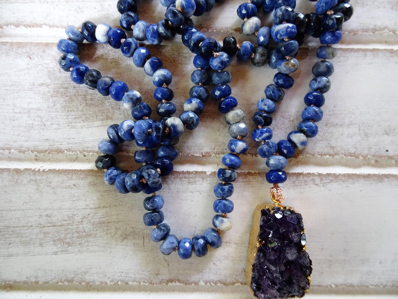 "Sodalite Stone Necklace | Amethyst Pendant | 34"" Long"
