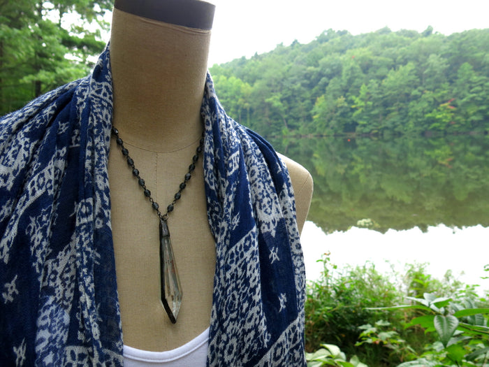 "Crystal Chandelier Pendant Choker Necklace | Indigo Blue Beaded Rosary Chain | 17"" Long"