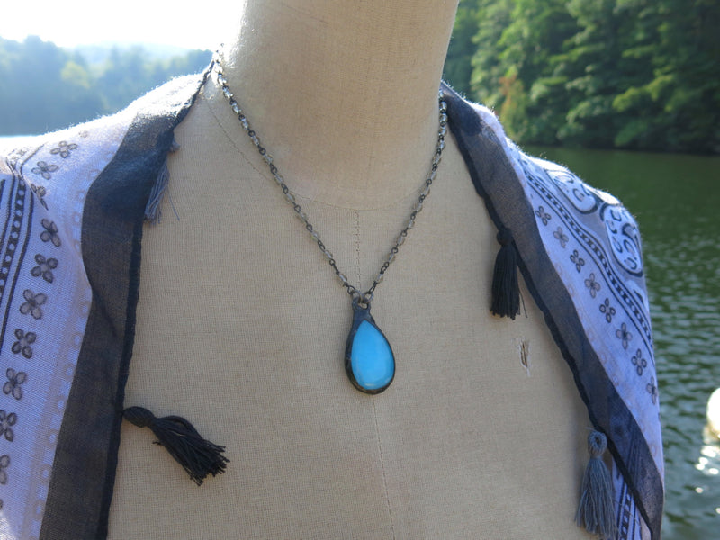 Turquoise Blue Agate Choker Necklace | Black Diamond Rosary Chain