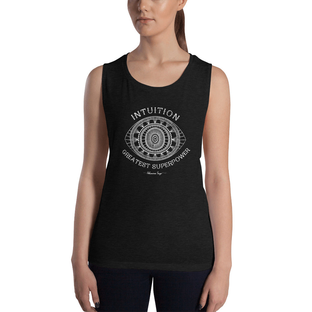 Ladies' Black Yoga Muscle Tank | Intuition Greatest Superpower