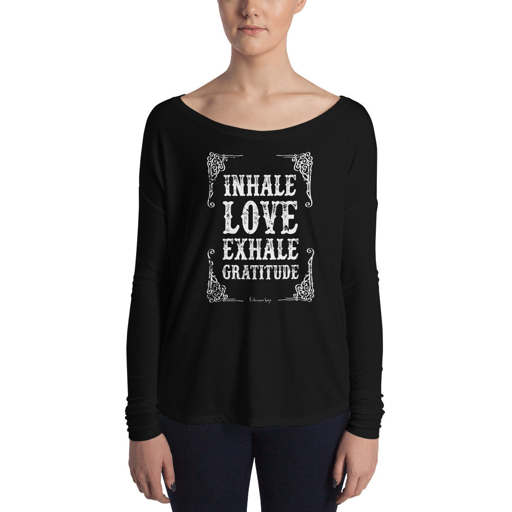 Ladies' off the Shoulder Yoga T Shirt | Inahle Love Exhale Gratitude Graphic | Yoga Teacher Gift