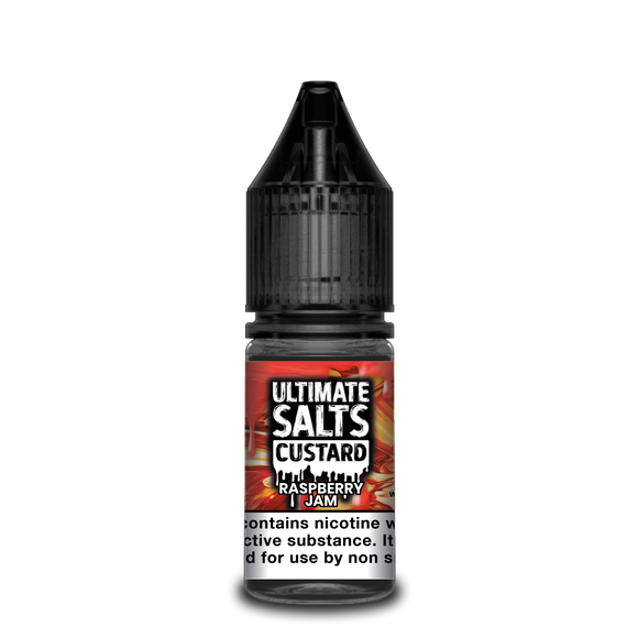 ULTIMATE SALTS,CUSTARD,RASPBERRY JAM,NIC SALT,50VG,50PG,HUFF N PUFF VAPOURS