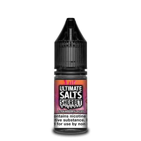 ULTIMATE SALTS,SHERBET,STRAWBERRY LACES,NIC SALT,50VG,50PG,HUFF N PUFF VAPOURS