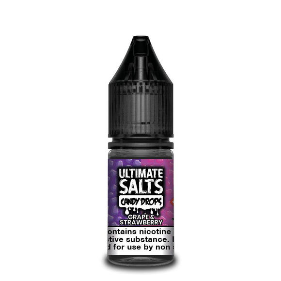 ULTIMATE SALTS,CANDY DROPS,GRAPE & STRAWBERRY,NIC SALT,50VG,50PG,HUFF N PUFF VAPOURS