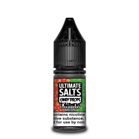 ULTIMATE SALTS,CANDY DROPS,STRAWBERRY MELON,NIC SALT,50VG,50PG,HUFF N PUFF VAPOURS