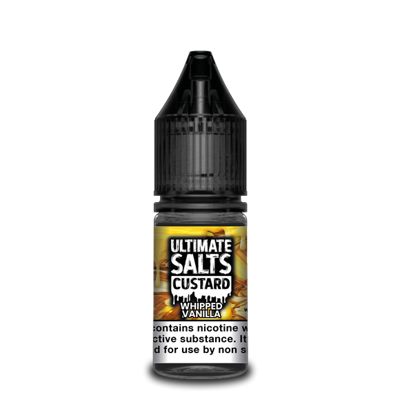 ULTIMATE SALTS,CUSTARD,WHIPPED VANILLA,NIC SALT,50VG,50PG,HUFF N PUFF VAPOURS