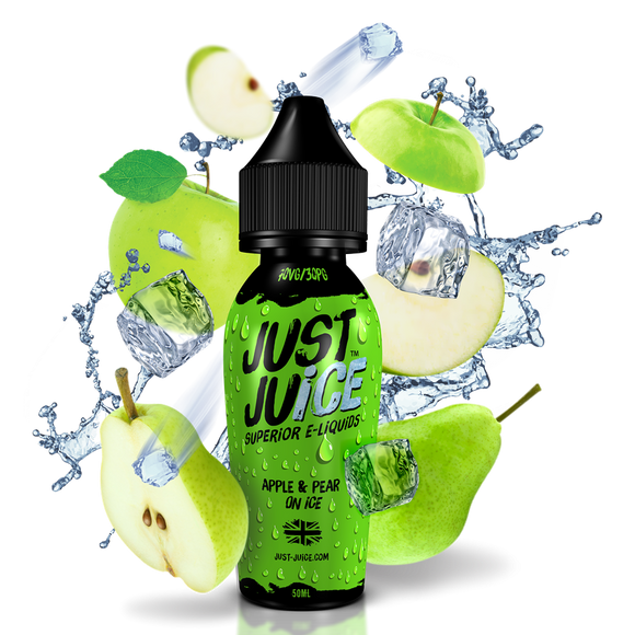 JUST JUICE,SHORTFILL,APPLE & PEAR ON ICE,E-LIQUID,70VG,30PG,HUFF N PUFF VAPOURS