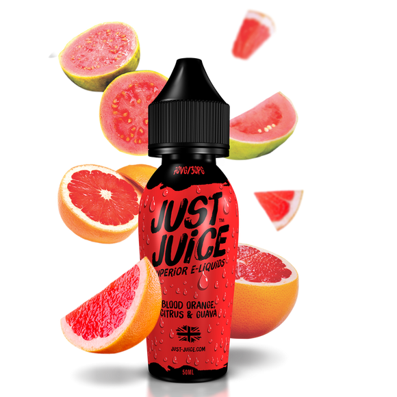 JUST JUICE,SHORTFILL,BLOOD ORANGE, CITRUS & GUAVA,E-LIQUID,70VG,30PG,HUFF N PUFF VAPOURS