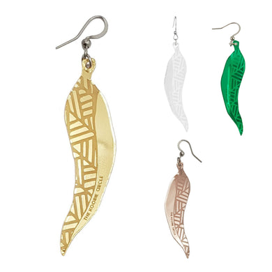 Gum Leaf Aboriginal Earrings - Mirror