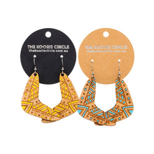 Boomerang Aboriginal Earrings - Hand Painted Bamboo